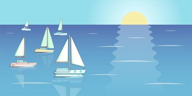 Yachten regattafahne horizontal, karikaturart