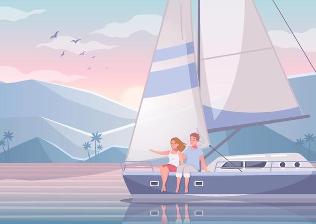Yachting-cartoon-set mit schöner landschaft der exotischen bucht mit paar