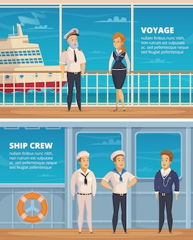 Yachtreisenschiffbesatzungsmitgliedcharaktere 2 horizontale karikaturfahnen mit dem kapitän und seeleuten lokalisiert