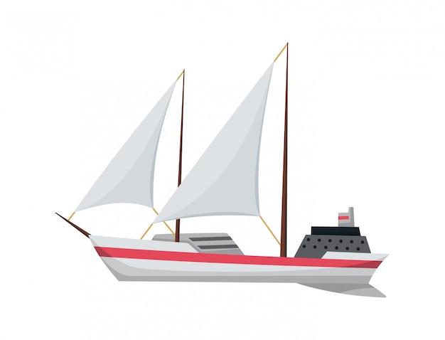 Yachtsegelboot oder segelschiff, segelboot marine. kreuzfahrtunternehmen. symbol