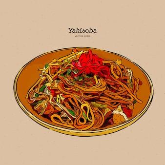 Yakisoba, gebratene nudeln umrühren.