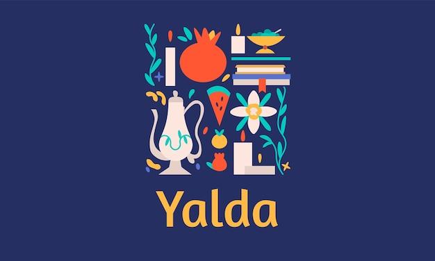 Yalda horizontale bannerschablone mit symbolen des feiertags - wassermelone, granatapfel, nüsse, kerzen und gedichtbücher. iranische nacht der vierzig feste der wintersonnenwende.