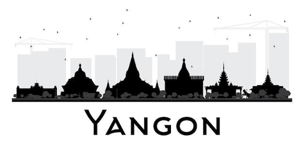 Yangon city skyline schwarz-weiß-silhouette. einfaches flaches konzept für tourismuspräsentation, banner, plakat oder website. stadtbild mit wahrzeichen. vektor-illustration.