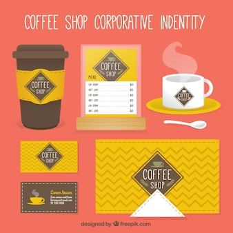 Yellow coffee-shop corporate identity