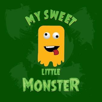 Yellow monster auf grünem hintergrund