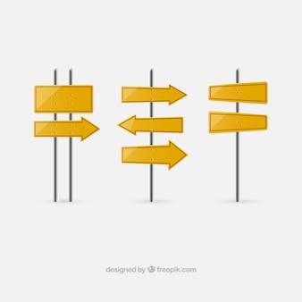 Yellow singposts