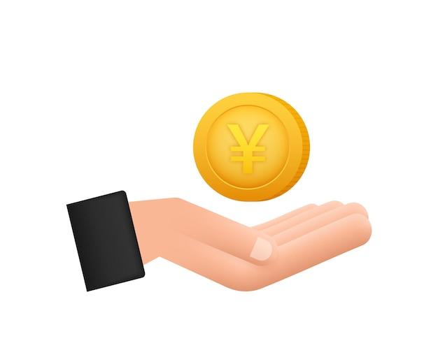 Yen-münze mit hand, tolles design für jeden zweck. flache artvektorillustration. währungssymbol.