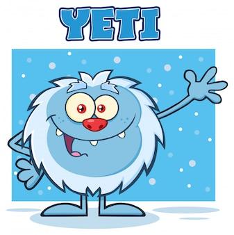 Yeti-Cartoon-Maskottchen-Charakter, das für den Gruß wellenartig bewegt