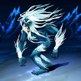 Yeti geht in der nacht spazieren
