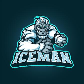 Yeti maskottchen logo für esport und sport