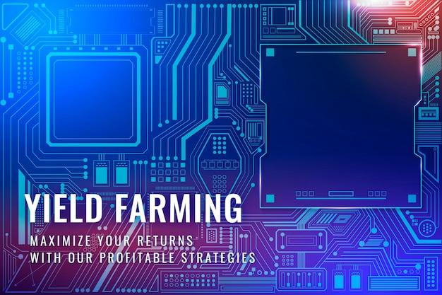 Yield farming investment template vector digital finance blog banner