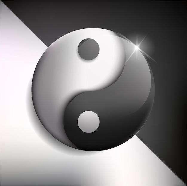 Yin und yang glänzendes gleichgewicht auf weißem hintergrund
