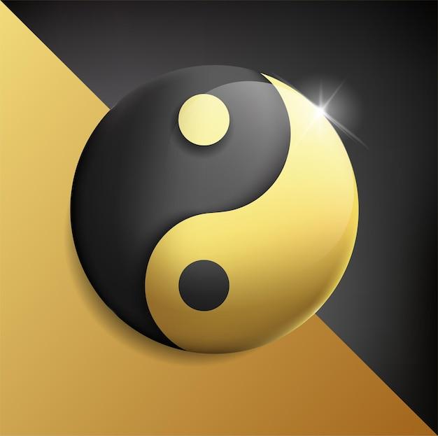 Yin und yang goldbalance auf weißem hintergrund