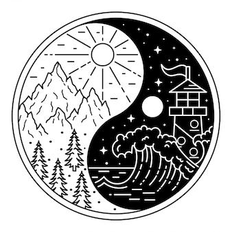 Yin und yang mit landschaft monoline abzeichen