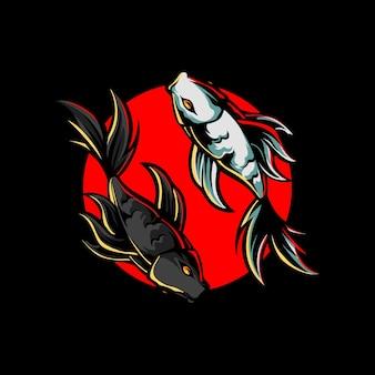 Yin yang fisch maskottchen logo