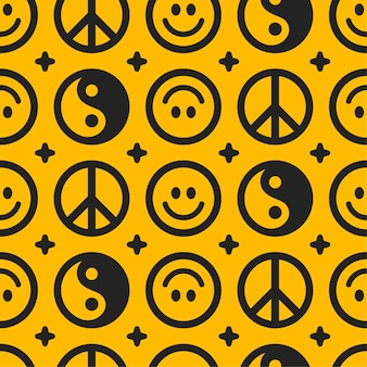 Yin yang, friedenshippiezeichen und lächelngesicht nahtloses muster. gezeichnete gekritzelzeichentrickfilm-figurillustration des vektors hand. yin yang, lächelngesicht, hippiefriedenssymbol nahtloses mustertapetendruckkonzept