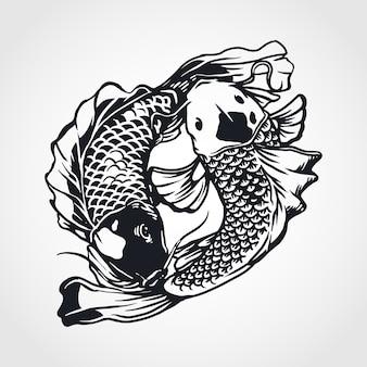 Yin yang koi fisch