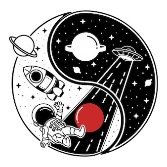 Yinyang ufo und astronaut