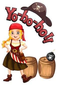 Yo ho ho schriftart mit einem piratenmädchen-cartoon-charakter