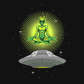 Yoga alien illustration