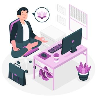 Yoga an der bürokonzeptillustration
