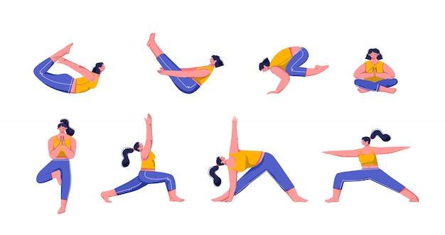 Yoga asanas. üben sie in yoga-posen, junge leute trainieren das gleichgewicht, meditieren und entspannen sich bei der vektorillustration der yoga-klasse. frauenfiguren, die isoliert pilates üben
