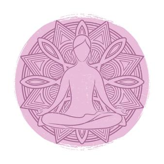Yoga balance weibliche silhouette. blumenmandala und meditationsfrau asana