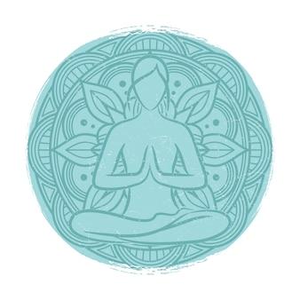 Yoga balance weibliche silhouette. blumenmandala und meditationsfrau