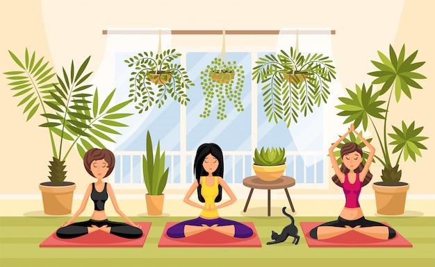 Yoga, entspannung, meditation, sitzungskonzept