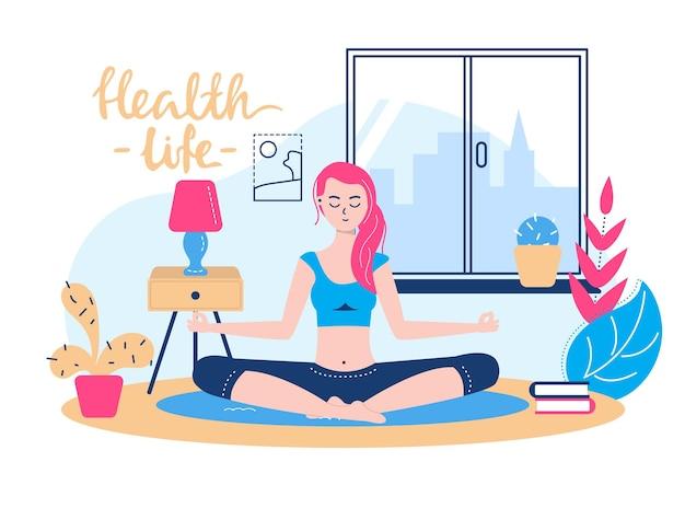 Yoga für einen gesunden lebensstil, vektorillustration. frauencharakter bei der meditation, weiblicher körper entspannen sich zu hause, mädchen, das im lotussitz sitzt. flache entspannung der jungen person im innenraum mit lampe, pflanze.