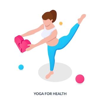 Yoga für gesundheitskonzept das mädchen beschäftigt sich mit yoga und hält herzhälften in den händen