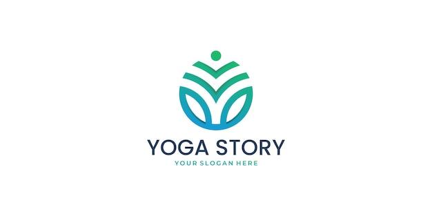 Yoga-gesundheitsgeschichte vektor template.logo design-konzept, medizin, gesundheitswesen, geschichte.