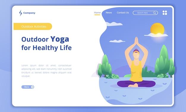 Yoga-illustration im freien auf der landingpage