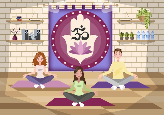 Yoga im fitnesscenter. frau in lotushaltung