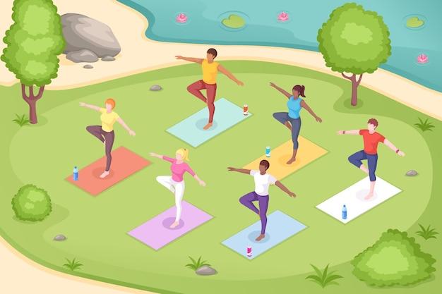 Yoga im freien im park, gruppenmeditation
