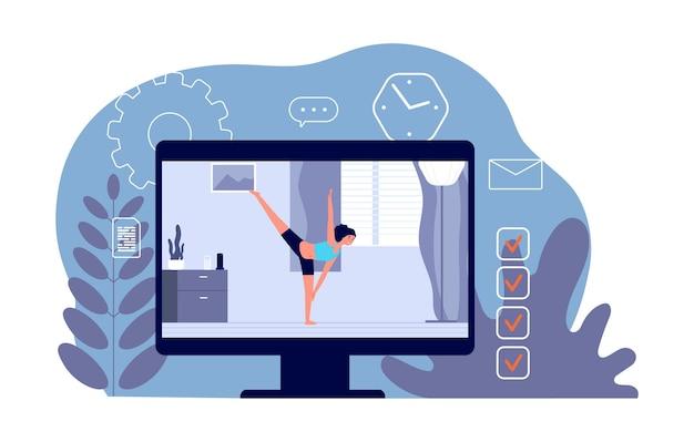 Yoga im internet. videotraining, heimsport. mädchen auf dem bildschirm macht übungen und stretching. aktivitäten am isolationswochenende