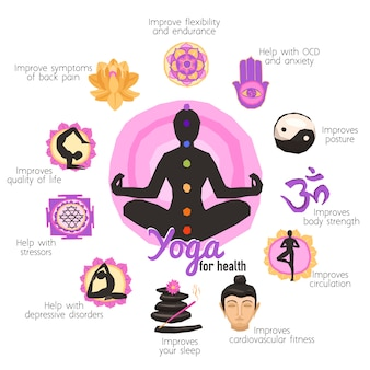 Yoga-infografiken-set