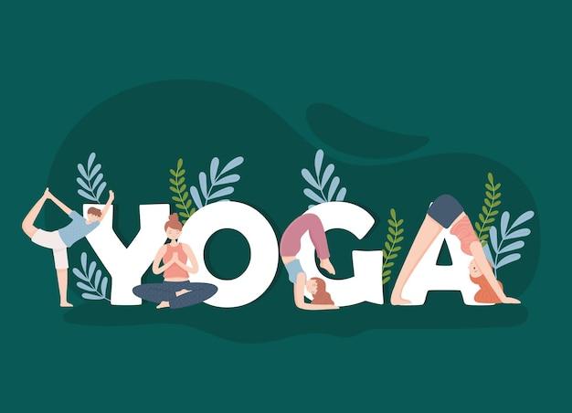 Yoga-inschrift und menschen