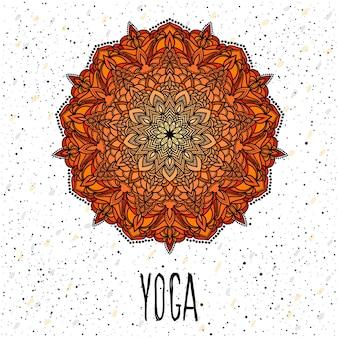 Yoga-kartenvorlage. handgezeichnete orientalische dekorative ethnische spitze rundes mandala für t-shirt-design, vintage-karte, partyeinladung, yoga-poster, broschüren, geschenkalbum, sammelalbum usw
