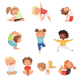 Yoga kinder charaktere. fitness sport kinder posieren und machen gymnastik yoga übungen vektor-illustrationen