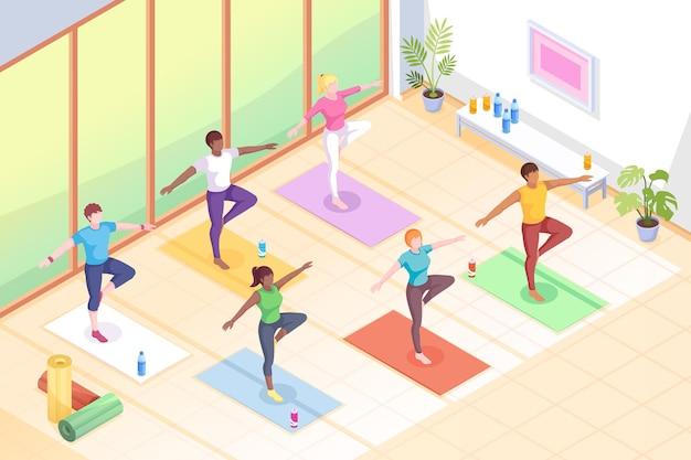 Yoga-klasse-leute in posen auf yogamatten fitnessübungen isometrische illustration frauen im yogaometric