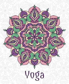 Yoga kreisförmiges mandala. entwerfen sie heiligen spirituellen lotus, gleichgewicht und lebensstil, entspannen sie sich und konzentrieren sie sich
