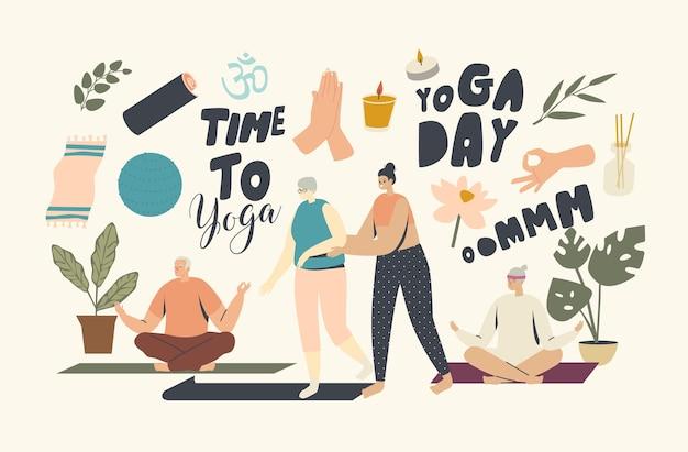Yoga-kurse für senior-charaktere-konzept. weibliche trainer helfen älteren frauen, yoga-lektionen zu beginnen. wellness im alter, gesundheit und körperpflege. fitness-aktivität. lineare menschen-vektor-illustration