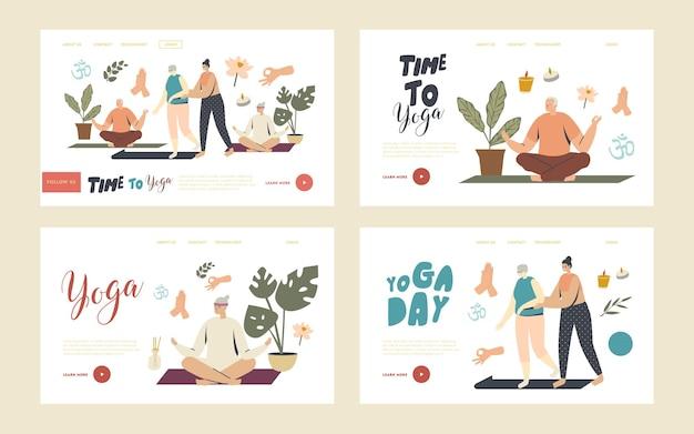 Yoga-kurse für senior-charaktere landing page template set. weibliche trainerhilfe für ältere frauen. wellness im alter, gesundheit und körperpflege. fitness-aktivität. lineare menschen-vektor-illustration