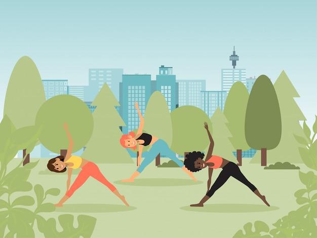 Yoga-kurse in der natur, frauen machen übungen, führen gesunde, gesunde lebensweise, design, cartoon-stil illustration.