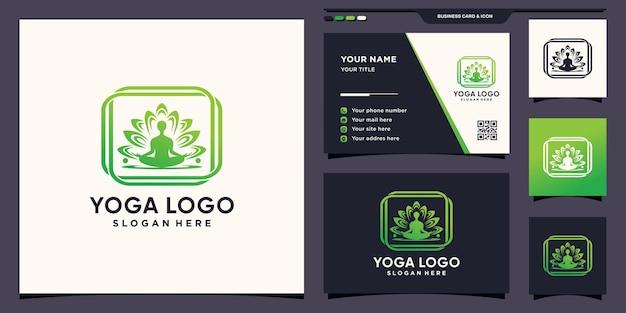 Yoga-leute-logo-design-meditation in blüte mit einzigartigem konzept und visitenkarte