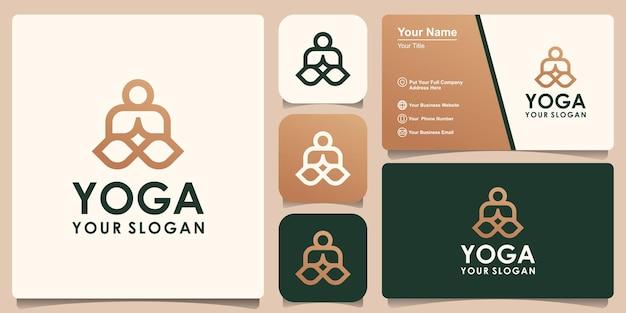 Yoga logo abstrakte design-vektor-vorlage linearer stil. health spa meditation harmony logokonzept und visitenkartendesign