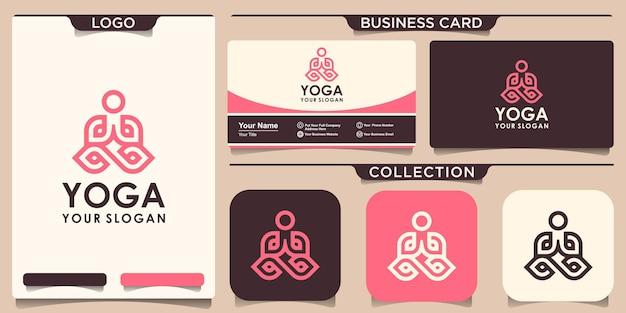 Yoga logo abstrakte designvorlage linearer stil. health spa meditation harmony logokonzept und visitenkartendesign