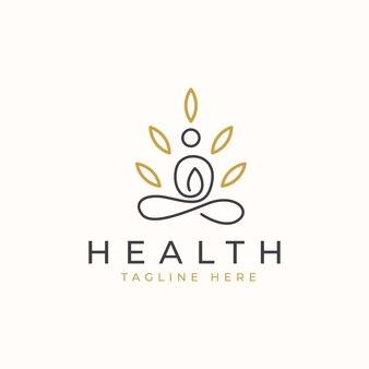 Yoga-logo mit blatt-logo-vorlage.