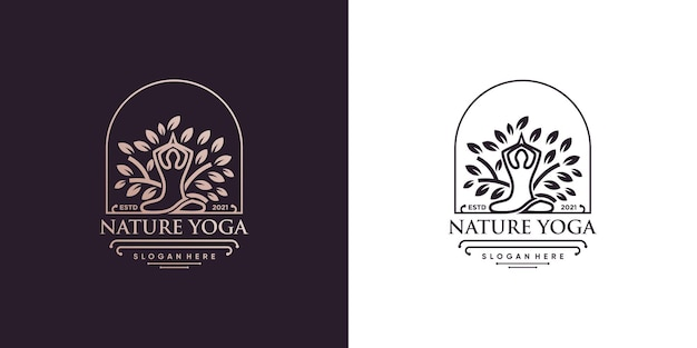 Yoga-logo mit kreativem elementstil premium-vektor teil 3
